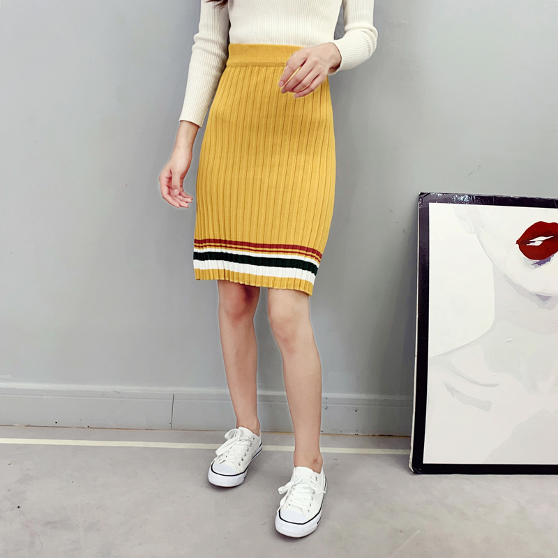 Knitted Skirt 2019 Autumn And Winter New Style High-waisted Skirt Korean-style Slim Fit Slimming Wool Skirt Stripes Mid-length