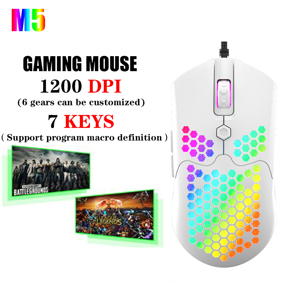 New Gaming Mouse 7 Keys 12000DPI Colored Lights Perspective Hollow Out Design USB Wired Pro Gaming Mouse For Laptop PC Computer