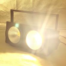 ใหม่ 2 ตา 2x100 W LED สีขาว 3200K 200W LED ผู้ชม DMX LED COB 200W LED Strobe DJ Light WASH Beam STAGE Effects