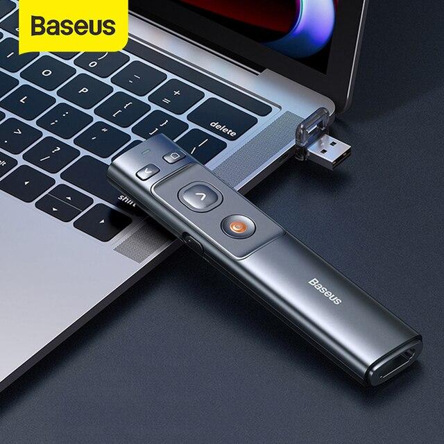 Baseus 2,4 GHz Wireless Presenter Fernbedienung Red Laser Pen USB Control Stift Für Mac Win 10 8 7 XP projektor PowerPoint PPT
