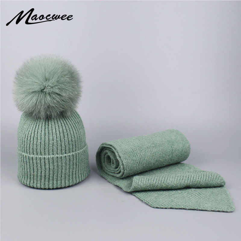 Parent-child Wool Knitted Scarf Hat Set With Real Fox Fur Pompons Women Girls Winter Warm Thick Crochet Hat Scarf 2 Pieces Sets