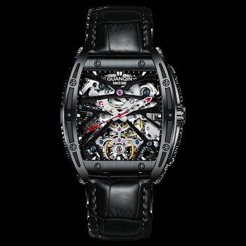 GUANQIN watch men's automatic mechanical watch Luminous hollow square Waterproof luxury brand leather Full black men's watch