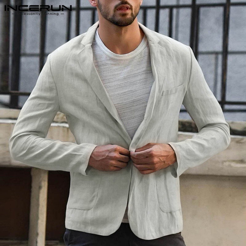 INCERUN Men Blazers Long Sleeve Cotton Lapel Handsome Autumn Solid Color Business Casual Blazer Suits Jackets Men 2020 Thin Coat