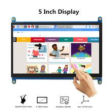 Venda mais quente 5 polegada display lcd monitor portátil hd 800x480 capacitivo touchscreen raspberry pi 4 exibe tela de toque