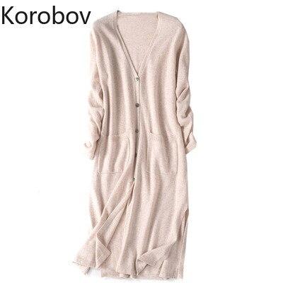 Korobov Korean Single Breasted Long Sweater Women Summer Long Sleeve Knit Cardigan Pockets Oversize Sueter Mujer 78413