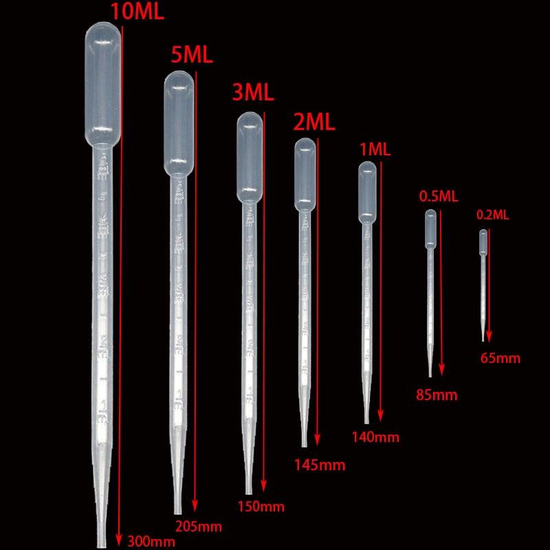 10 Pieces 0.2 / 0.5 / 1/2/3/5 / 10ML Laboratory Pipette Plastic Disposable Graduated Container Liquid Dropper Equipment Straw