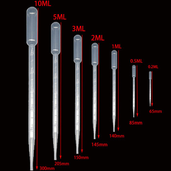 10 vienetų 0,2 / 0,5 / 1/2/3/5/10 ml laboratorinės pipetės plastikinės vienkartinės graduotos talpyklos skysčio lašintuvo įrangos šiaudai