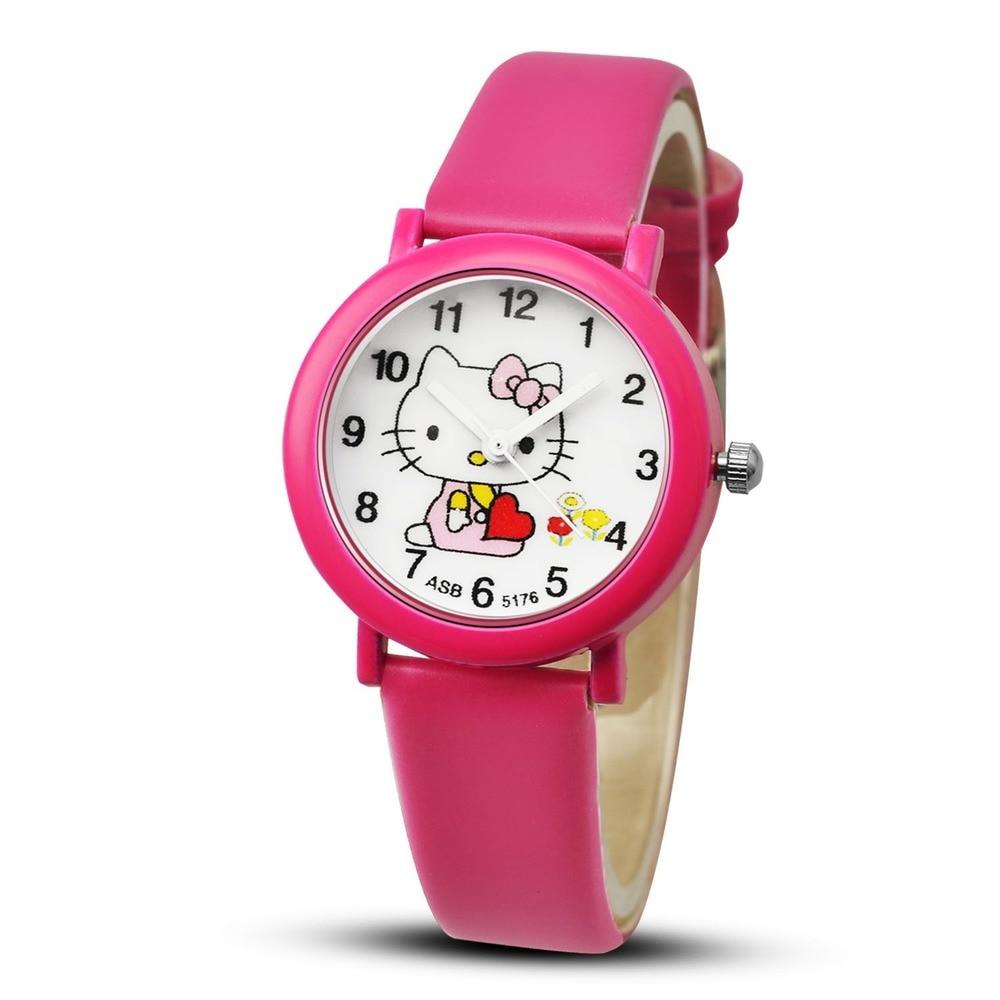 Children Quartz Wristwatch Clock Kt Cat Fashion Casual Girl Watch Kids Cute Leather Strap Watches Lovely
