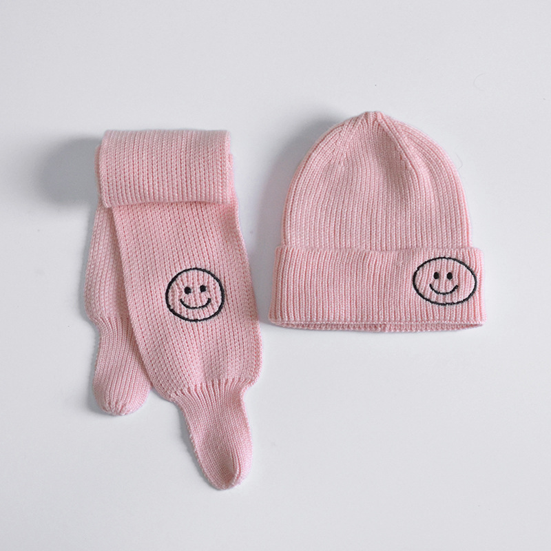 Winter Children Hat Scarf Sets Girls Cute Sweet Pink Smile Beanie Hats Boys Solid Knitted Warm Soft Hat Neck Scarves