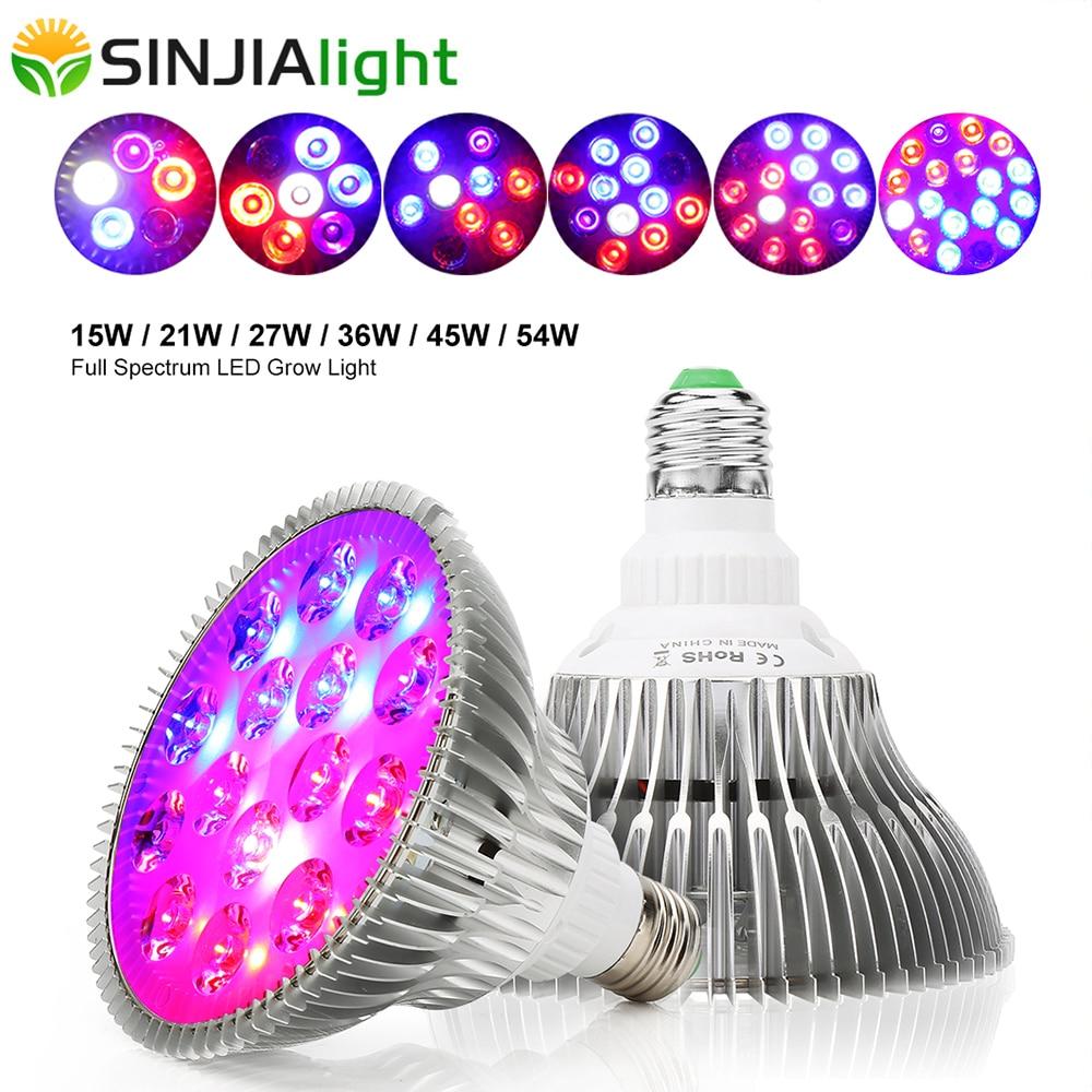 6W 15W 21W 27W 36W 45W 54W LED Grow Light Full Spectrum Phyto Lamp LED Bulbs For Plants Garden Flowers Seeds Growth Grow Box E27