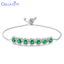 Cellacity Round Emerald Gemstones Bracelet for Women Simple