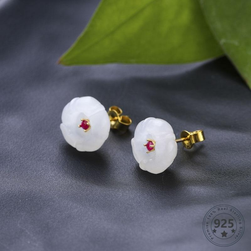 Louleur 925 boucles d'oreilles en argent Sterling Hetian Jade boucles d'oreilles Vintage rouge Zircon fleur boucles d'oreilles pour les femmes mode bijoux de mariage fins