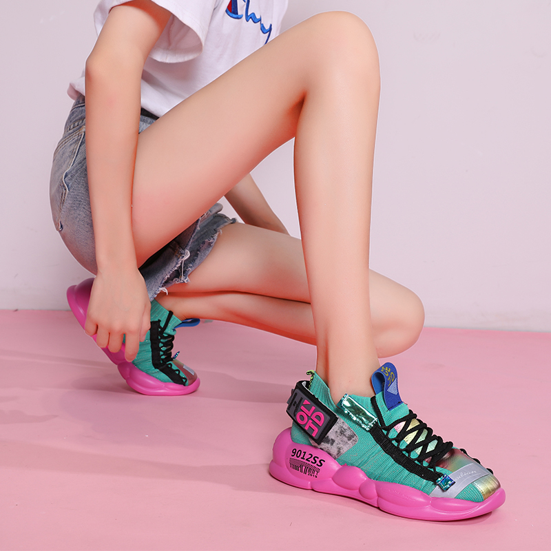 The New Single Web Celebrity Female Dazzle Colour Torre Fall Thick Bottom Breathe Freely Fly Knitting Leisure Sport Shoes Woman
