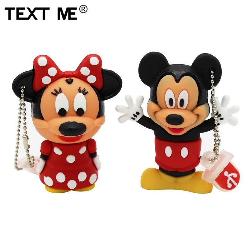 TEXT ME Cartoon 4GB Mickey Minnie Usb Flash Drive Usb 2.0  8GB 16GB 32GB 64GB Pendrive Gift U Disk