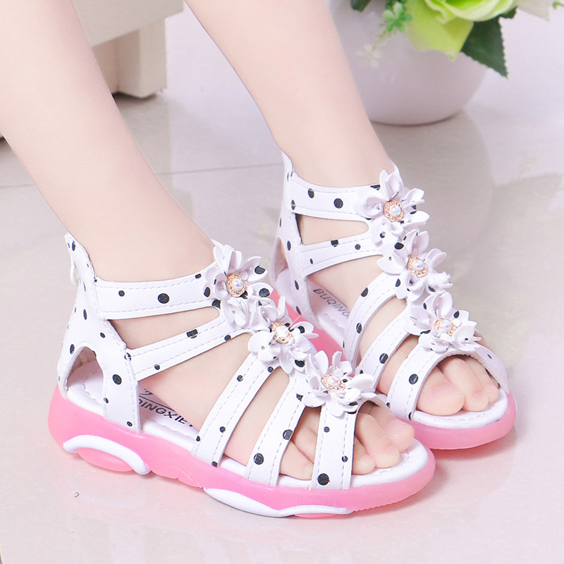 New Summer Girls Sandals Toddler Baby Girl Beach Sandals Floral Sweet Soft Leather Kids Shoes Children Princess Sandals Student