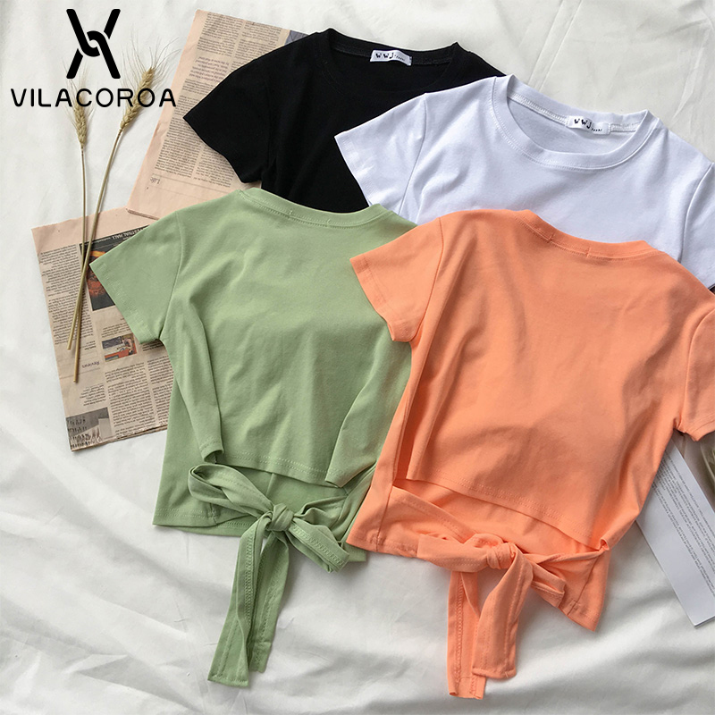 2020 Summer T Shirt Women Short Sleeve Tops Harajuku Candy Colors Tee Hollow Out Short Crop Tops Bow Solid Color Tshirt Female image
