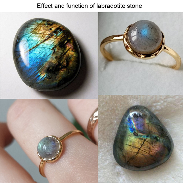 ALLNOEL 925 Sterling Silver Ring For Women 100% Natural Labradorite Gemstone 1.3ct Real Gold Wedding Engagement Fine Jewelry 3