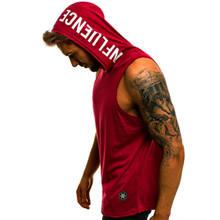 Débardeur à capuche sans manches pour homme, vêtement de Sport, de musculation, style Hip Hop, Streetwear, élastique