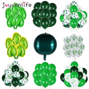 Green Balloons Latex Balloon Woodland Animal Palm Leaf Foil Balloons Safari Party Baloons Birthday Party Decorations Kids Balon jungle party green latex balloons woodland animal palm leaf foil balloons safari party baloons birthday party decor baby shower