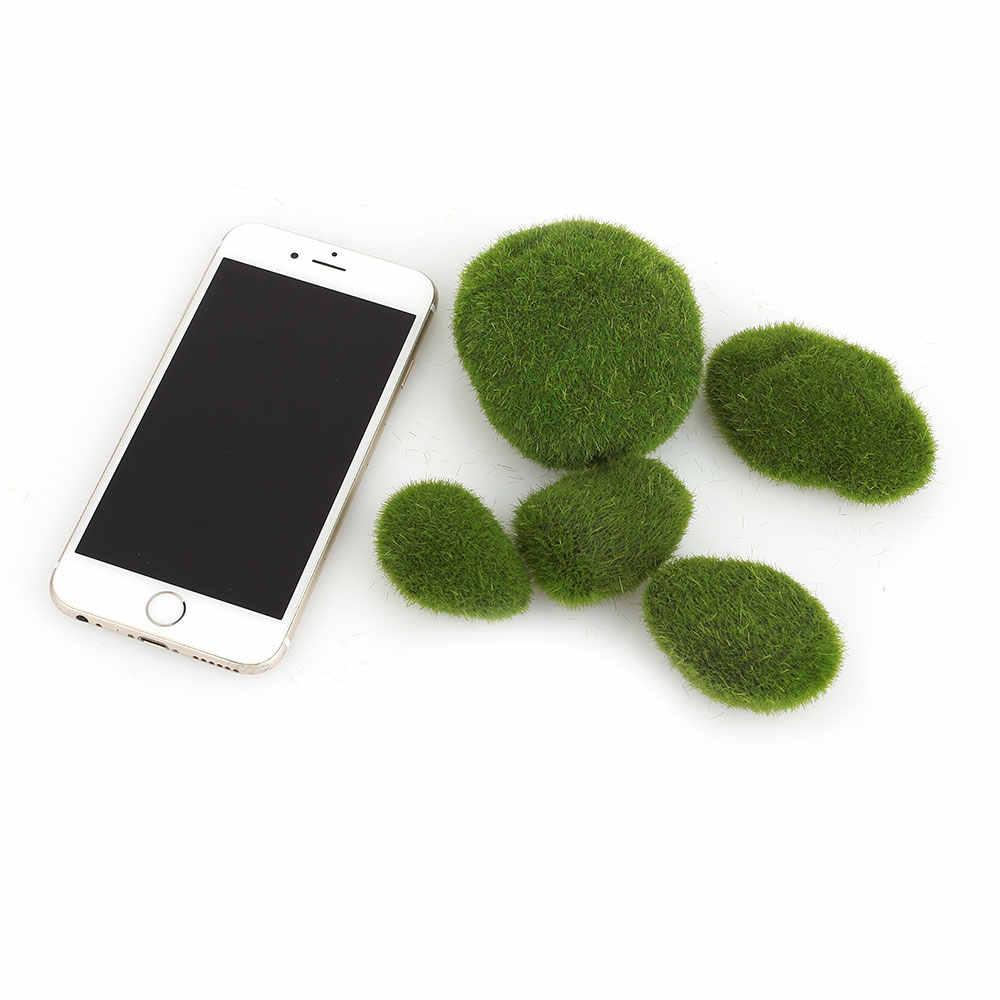 5PCS מוס כדור דגי טנק אקווריום קישוט ירוק סניף צמח בית גן קישוט אקווריום מוס כדור קצף קישוט דגים P