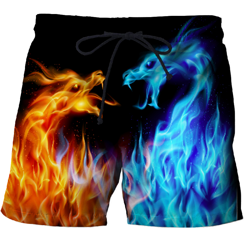 Mens Ice Fire Dragon Beach Shorts 3D Print Fashion Summer Streetwear 2019 New Board Plage Casual Quick Dry Swimming Shorts