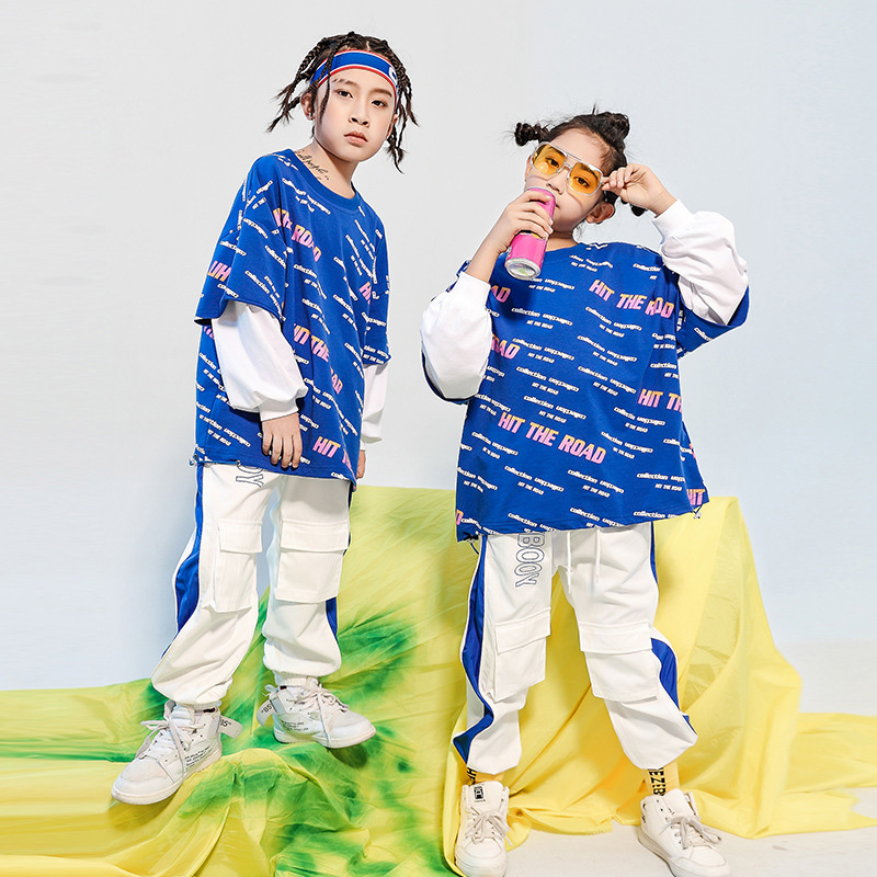 Kids Hip Hop Clothing Loose Sweatshirt Oversized Shirt Top Running Casual Pants For Girls Boys Jazz Dance Costumes Clothes Wear