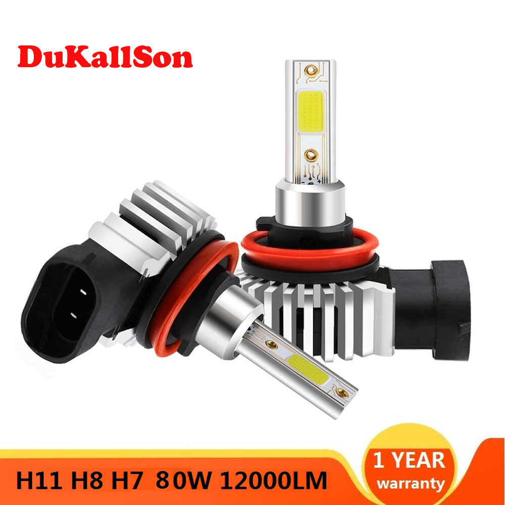 2 Pcs Led Mini Auto Koplamp Mini Lamp H11 Lampen H7 H8 H9 Koplampen Kit 9005 HB3 9006 HB4 6000 K Mistlamp 12V Led Lamp 12000LM