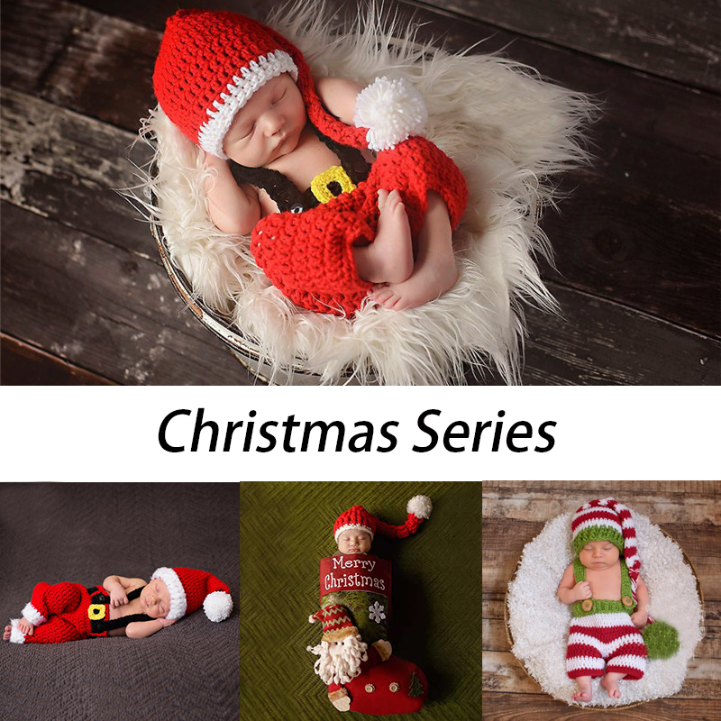 Christmas Theme Series Baby Photography Props Xmas Newborn Photo Shot Accessories Clothing Girls Boys Costume Outfit Hats Cloth