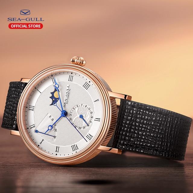 Seagull relógio automático masculino mecânico automático da fase da lua relógios dia data homem relógio 2019 designer 819.11.6092 3