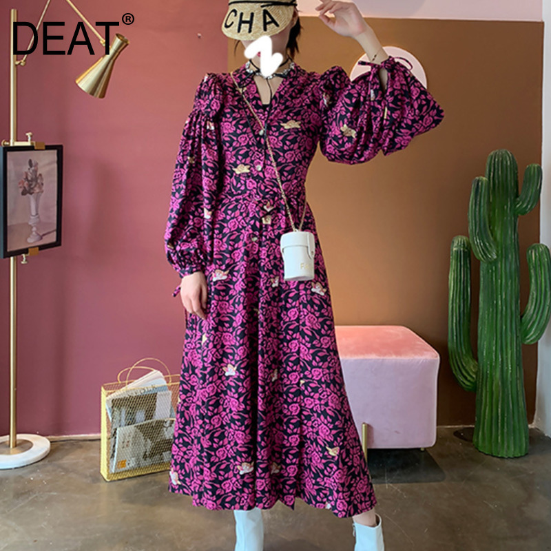 DEAT Rose Red V neck Bubble Long sleeved Angel Rose Print Waist Tie Bow Woman Dress Sweet Simple Fashion 2019 Autumn New TV861