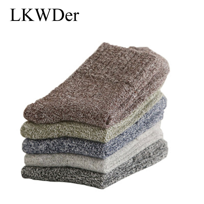LKWDer 5 Pairs Men's Thick Socks Special Winter Thick Warm Socks High Quality Winter Mens Harajuku Retro Warm Wool Dress Socks
