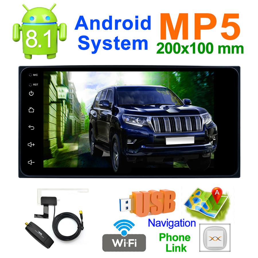 7 Android 8.1 Auto MP5 Speler Touch Screen QUAD core Wifi Verbinding GPS Navigatie DAB FM/AM radio Tuner voor TOYOTA