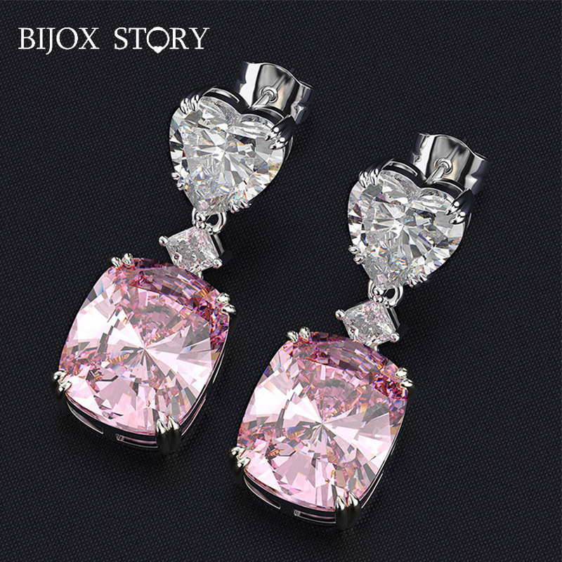 BIJOX STORY 925 sterling silver earrings with geometric shaped zircon korean style drop earring for female wedding party banquet