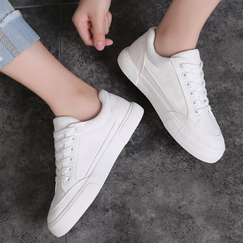 Women Sneakers Arrivals Fashion Lace-up Black/white Women Shoes Solid Sewing Shallow Casual Canvas Shoes Women Zapatos De Mujer