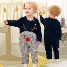 Baby Boys Girls Christmas Rompers Reindeer Knitted Cartoon Deer warm Infantil Jumpsuits Toddler girl New Year's Costume 0-18M