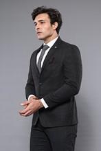 Wessi męski czarny kurtka w kratę klasyczny ślub zaręczynowy Casual klasyczna kurtka kwadratowe wzorzyste paski tanie tanio REGULAR TR (pochodzenie) Poliester Pojedyncze piersi Pełna C-42 YC-1-10 Formalne