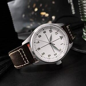 Image 3 - San Martin montre Simple en cuir pour hommes, cadran blanc, tendance 200m, étanche et lumineuse, automatique