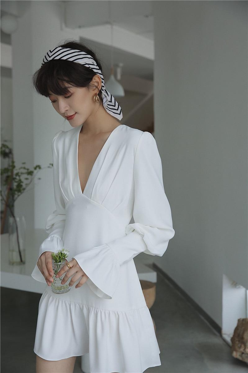 H9fd9c9e170b9413ab8ff8cf4d015e43dP - Spring Korean Deep V-Neck Long Flare Sleeves White Mini Dress