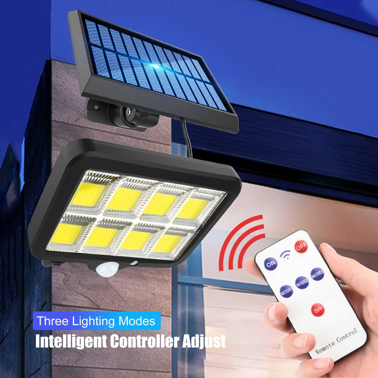 Getrennt 128/160COB Solar Licht Outdoor Solar Lampe Powered Sonnenlicht Wasserdicht PIR Motion Sensor Straße Licht für Garten Decor