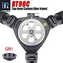 Rt90c profissional birdwatching tripé de câmera de fibra de carbono de 10 camadas compacto resistente tigela tripé com 75mm tigela & adaptador tigela