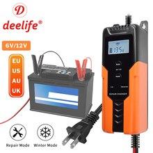 Deelife 6 v/12 v 4A フル自動車のバッテリー充電器冬の修理モードためオートバイのサポート eu 、米国、 au 英国プラグ