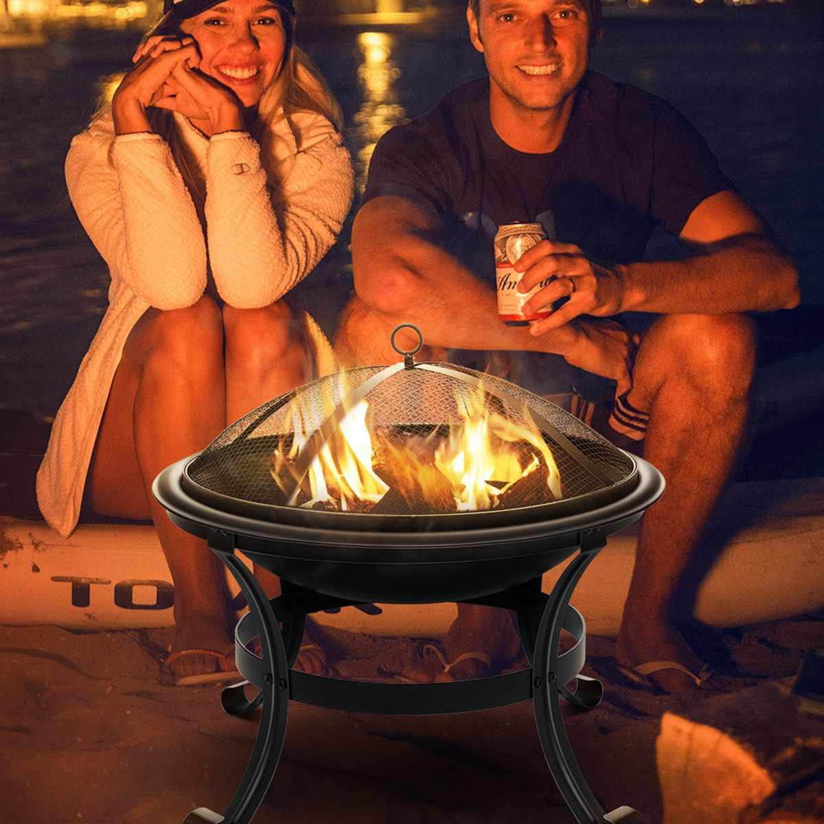 Outdoor Fire Pit Wood Burning Steel BBQ Grill Firepit Bowl with Mesh Fire Pit Outdoor Fireplace for Backyard Camping Picnic
