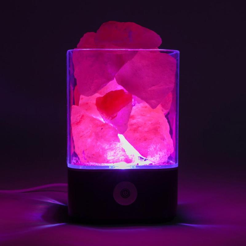 Touch Switch USB USB Crystal Light Natural Himalayan Salt Lamp led Lamp Air Purifier Indoor Warm Light Table Lamp