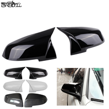 1 Pair Sports Style Left & Right Carbon Fiber/ABS Bright Black/White Side Mirror Cap Covers Fit For BMW F20 F21 F22 F23 F30 F32