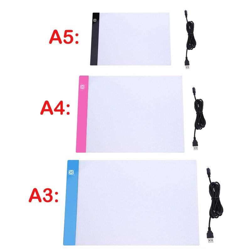 A3/a4/a5 três nível pode ser escurecido diodo emissor de luz almofada de desenho placa de rastreamento caixa de luz proteção para os olhos mais fácil para pintura diamante