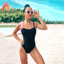 Andzhelika 섹시 한 어깨 핑크와 블랙 꽃 원피스 수영복 여자 2020 여름 수영복 Bodysuit 수영복 Monokini