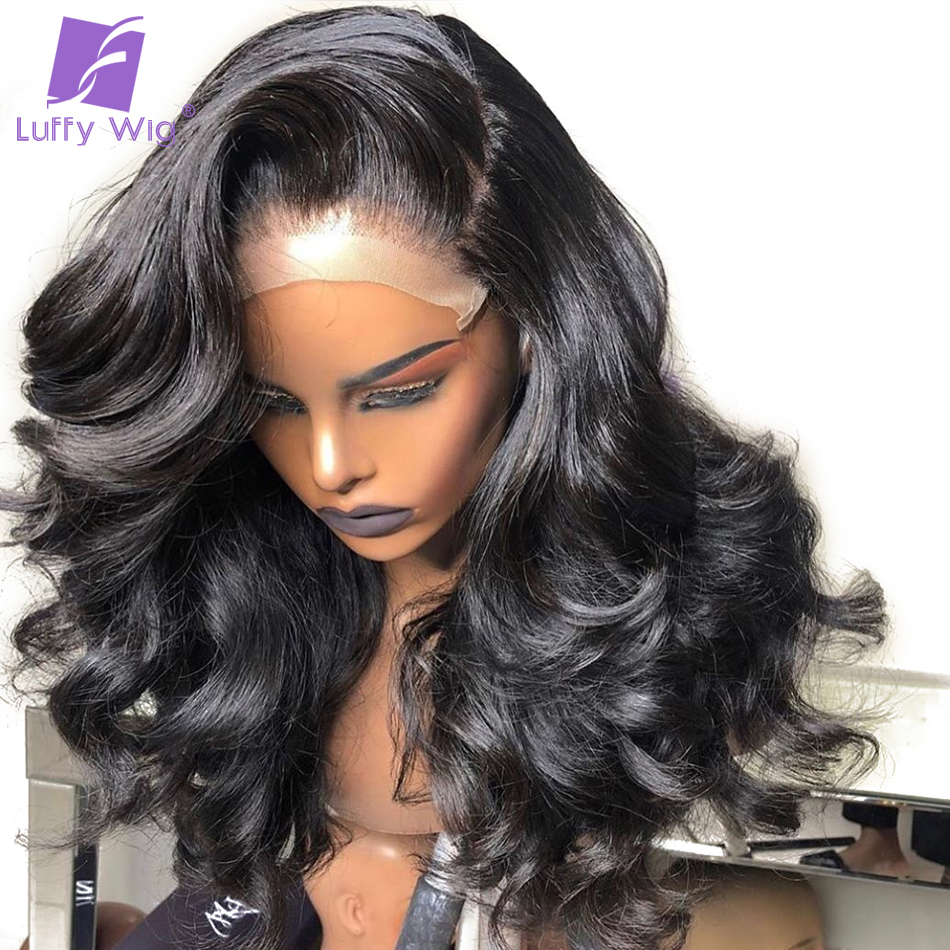 13x6 Fake Scalp Lace Front Human Hair Wigs Loose Wave Pre Plucked Glueless Brazilian Remy Hair Natural Black For Women LUFFY