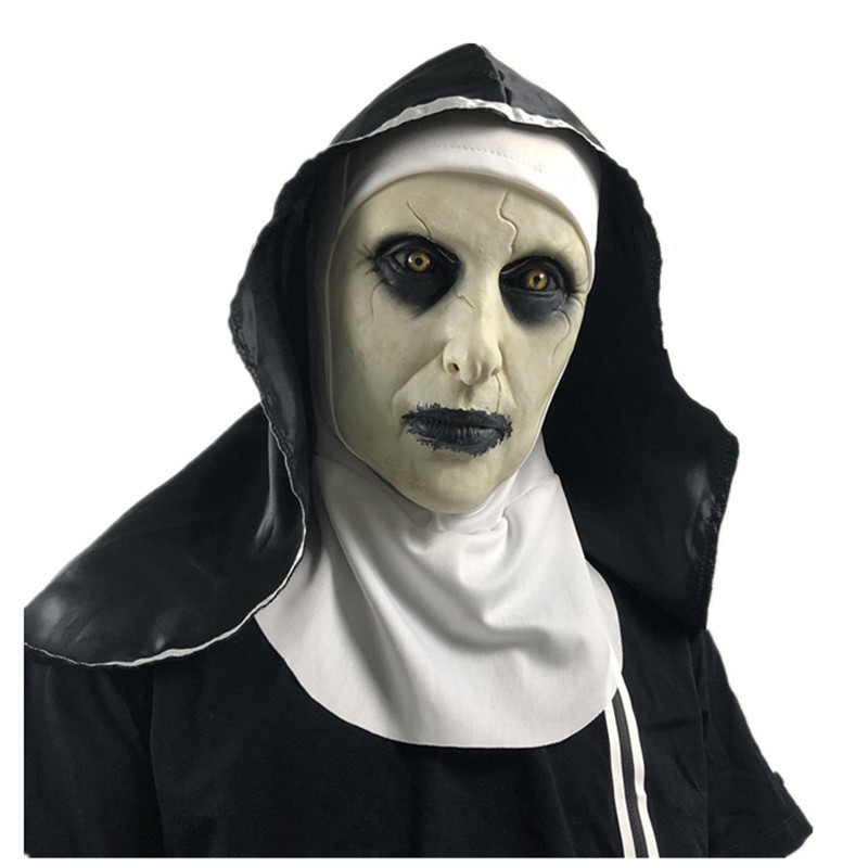Thriller Antifaz Para Fiesta Horror Mascara Cross The Nun Latex Mask With Headscarf Crucifix <font><b>Terror</b></font> Face Masks Scary Cosplay image