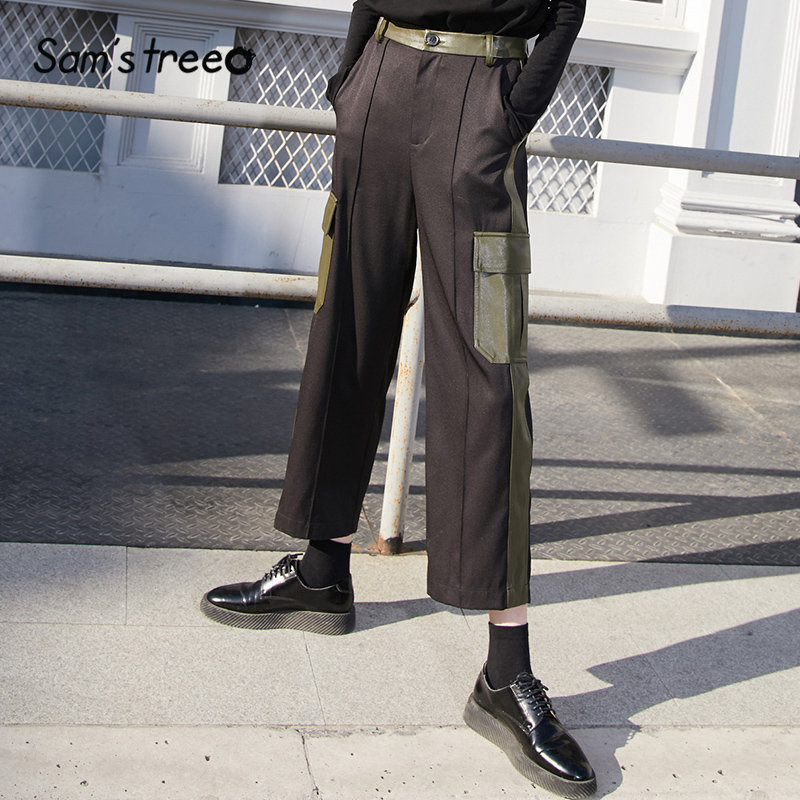 SAM'S TREE Black Solid Leather Patchwork Straight Casual Women Pants 2020 Winter Colorblock Pocket Mid Waist Ladies Trousers
