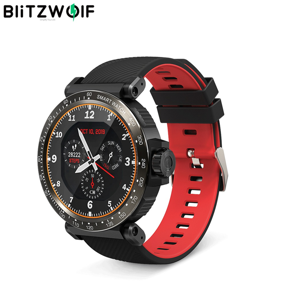 BlitzWolf BW-AT1 Full Screen Touch Dymanic UI Display Heart Rate Blood Pressure Oxygen Monitor Weather Push Smart Watch - Black